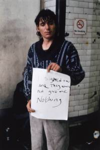 'I signed on and they would not give me nothing' 1992-3 Gillian Wearing OBE born 1963 Purchased 2000 http://www.tate.org.uk/art/work/P78350