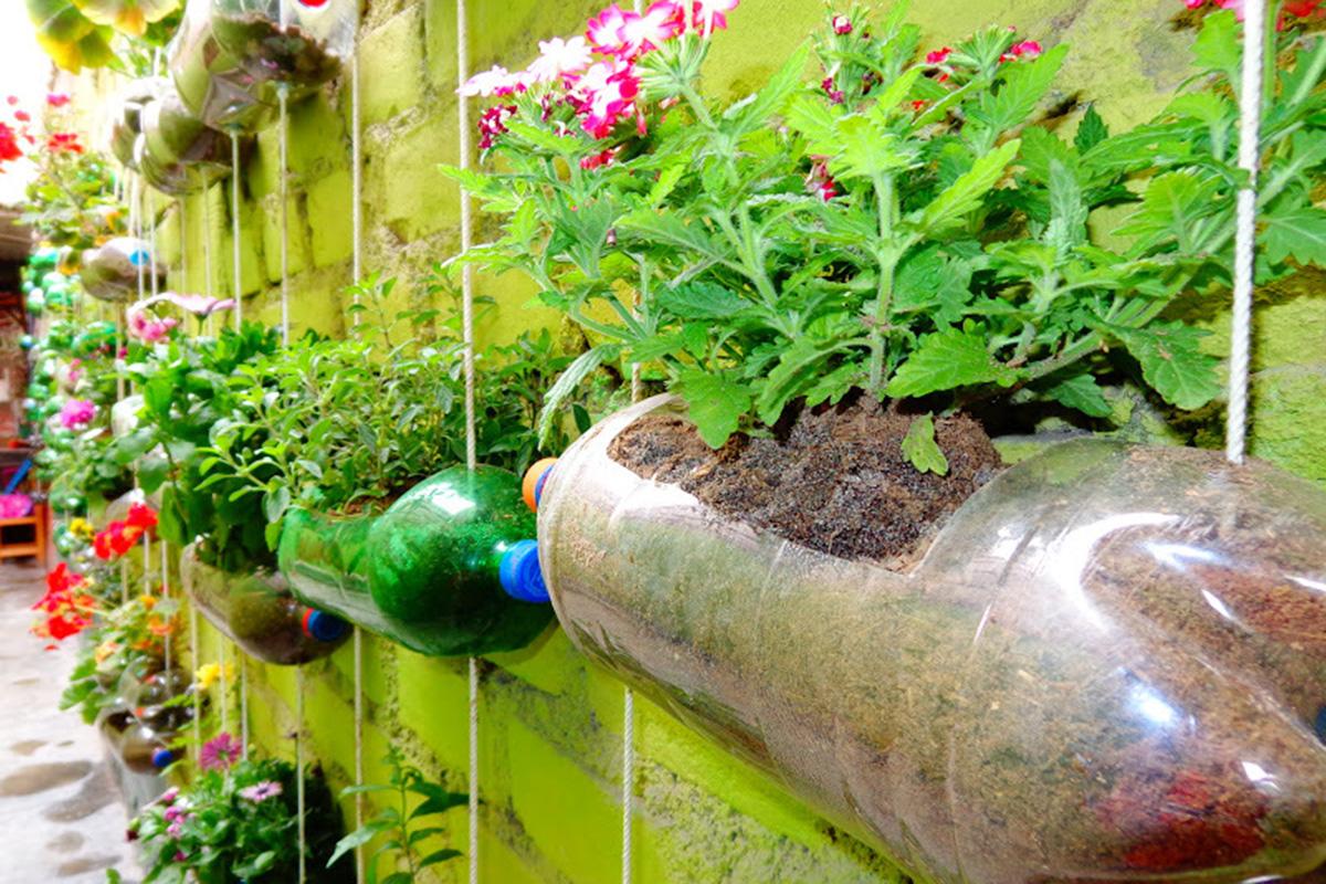 El reciclaje en jardiner a y la botella macetero for Adornos para plantas con llantas