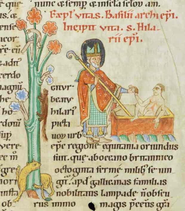 San Hilario de Poitiers, doctor de la Iglesia. Iluminación del Pasionario de Weissenau; Fundación Bodmer, Coligny, Suiza; Cod. Bodmer 127, fol. 144r.