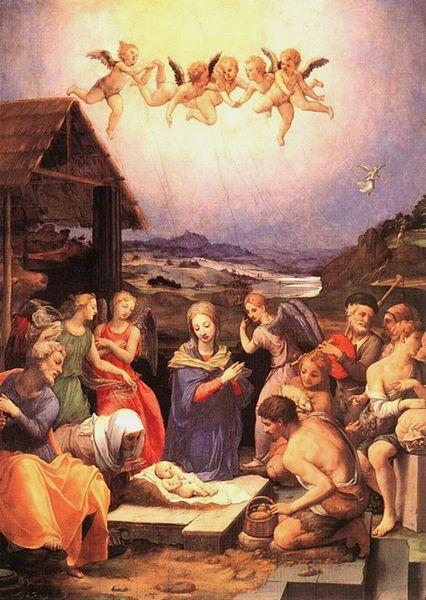 La Natividad de Jesús, Agnolo Tori o Angelo di Cosimo di Mariano o Agnolo Bronzino, más conocido como Bronzino, El Bronzino o Il Bronzino (Ponticelli de Florencia, 17 de noviembre de 1503 – Florencia, 23 de noviembre de 1572). Pintor italiano predominantemente áulico y uno de los más destacados representantes del manierismo.