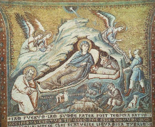 Nacimiento de Jesús (1291), Pietro Cavallini (1250-1330). Pintor y diseñador de mosaicos. Mosaico. Photo Credit: Santa María del Trastevere, Roma, Italia. El Trecento: entre Roma y Asís. Estilo: naturalismo romano.