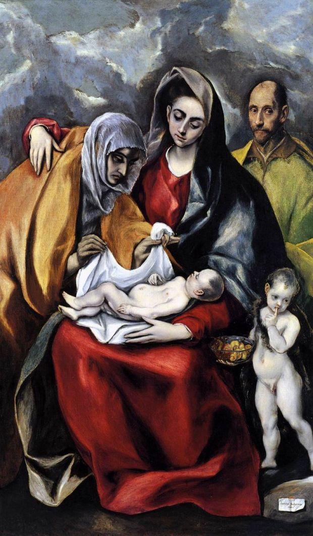 El Greco, 1586-1588. Manierismo. La Sagrada Familia es una obra de El Greco, realizada entre 1586 y 1588 durante su segundo período toledano. Se exhibe en la colección del Museo-Hospital de Santa Cruz de Toledo.