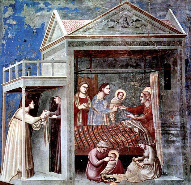La Natividad de Jesús (h.1302-1305), Giotto di Bondone. Fresco, 200 x 185 cm. Photo Credit: Capilla de los Scrovegni, Padua, Italia.