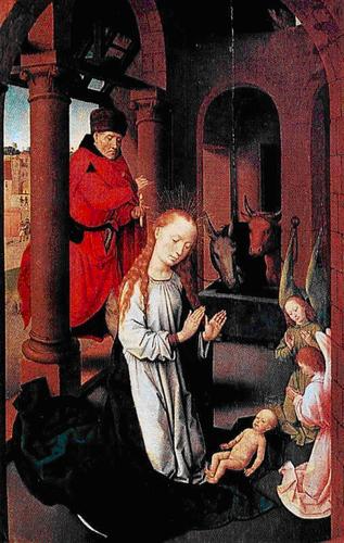 La Natividad de Hans-Memling: 1440- 1494 Brujas (Bélgica). En las escenas religiosas, agrupadas a menudo en trípticos, llama la atención su habilidad para organizar el espacio y distribuir las figuras con una gran maestría compositiva e de impecable realización técnica. En el retrato perfeccionó la técnica de situar al modelo sobre un fondo de paisaje, costumbre que tuvo una amplia difusión y una gran influencia.