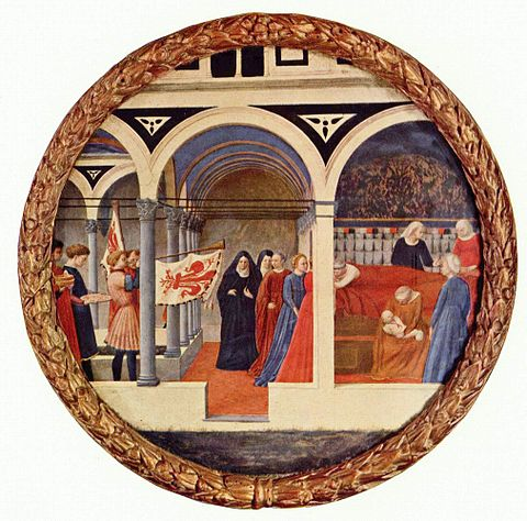 Natividad (1427-1428), Masaccio. Temple sobre tabla, 56 cm (22 in) de diámetro. Photo Credit: Staatliche Museen, Berlín, Alemania.