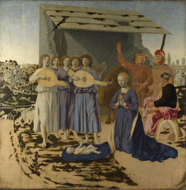 Piero della Francesca, 1460-1475. Se trata de un ensayo de pintura al óleo, por entonces una nueva técnica flamenca que Piero della Francesca tuvo ocasión de conocer primer en sus años jóvenes en Ferrara pero luego, con más profundidad, en la Urbino del duque Federico de Montefeltro. Sobresale la instalación en perspectiva y el amoroso cuidado por los detalles.
