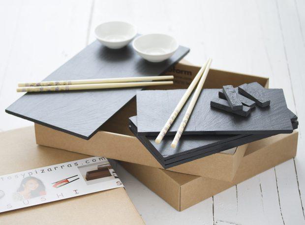 Vajillas de Pizarra. Sushi packaging.
