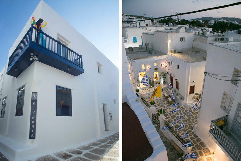 The art institution Dio Horia (left) is bringing art-world cachet to the Greek island of Mykonos (right), long considered a hedonistic party town. Credit Courtesy of Dio Horia