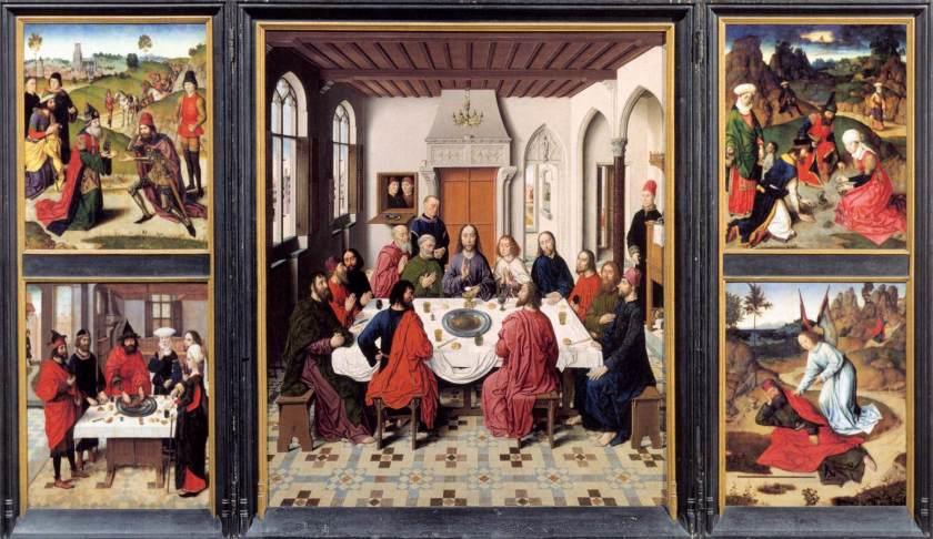 La Última Cena es un tríptico al óleo sobre tabla pintado por Dirk Bouts y está considerado como una de sus grandes obras. Data del período 1464-1467 y tiene unas medidas de 180 cm de alto y 290 cm de ancho. Se conserva en el tesoro de la Iglesia de San Pedro de Lovaina, en Bélgica.