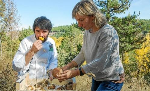 El cocinero y la micóloga mientras buscan setas en un pinar dentro de las actividades ofrecidas por el congreso «Soria Gastronómica» Lucas Caraba