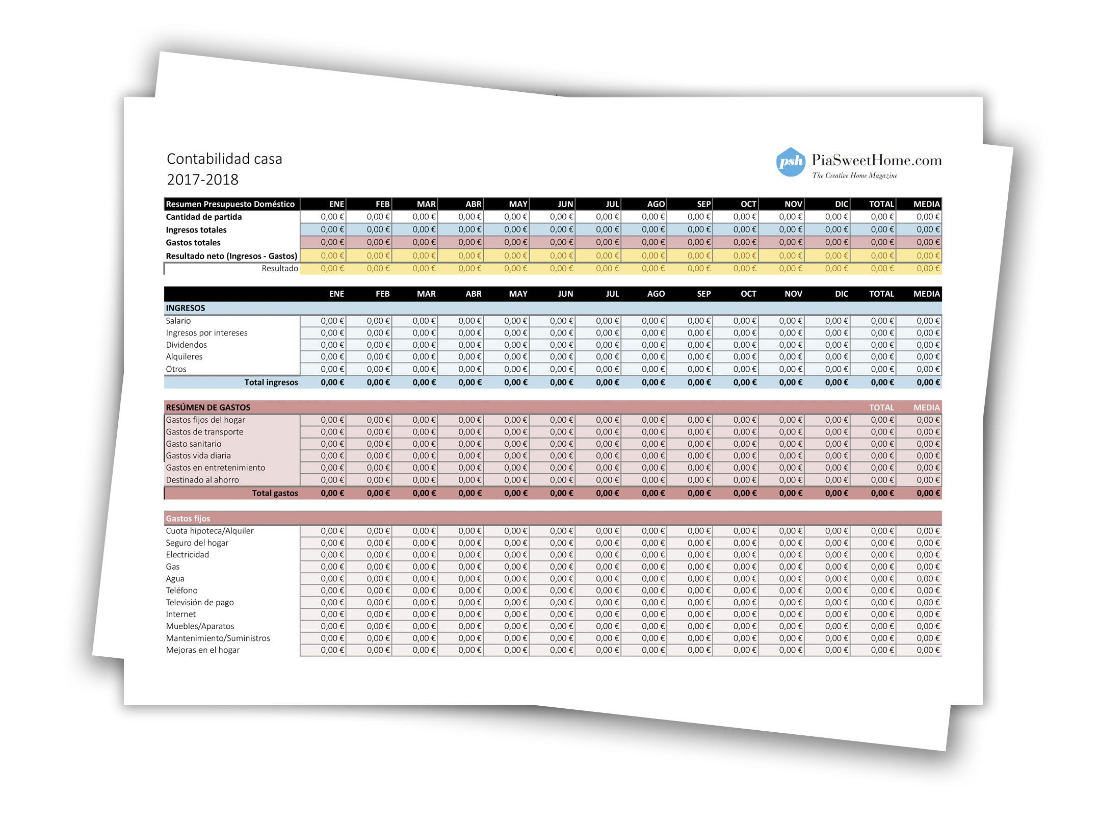 Plantilla Contabilidad Mensual editable en Excel | PiaSweetHome