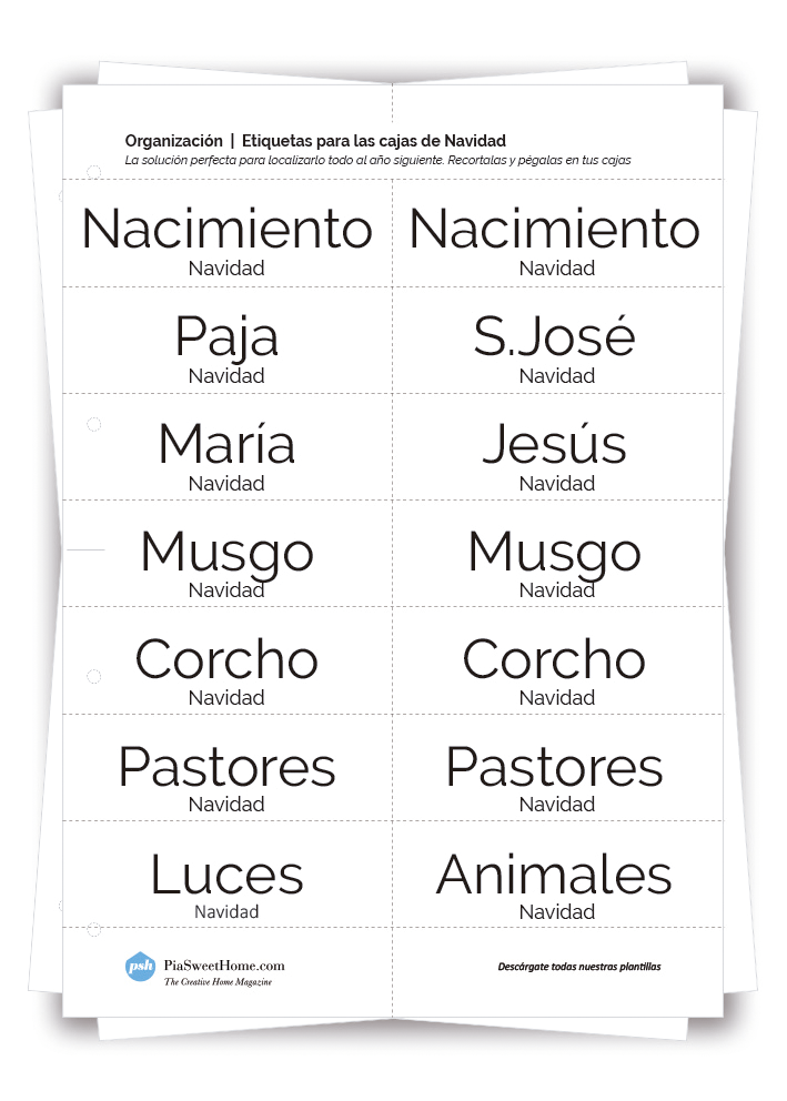 Plantilla Etiquetas Cajas de Navidad | PiaSweetHome