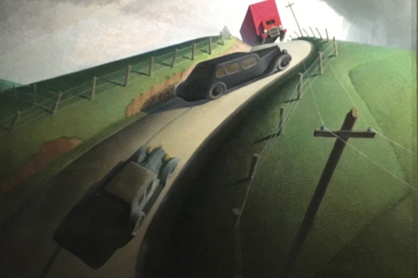 Grant Wood, Americano, 1891-1942. Death on the Ridge Road, 1935