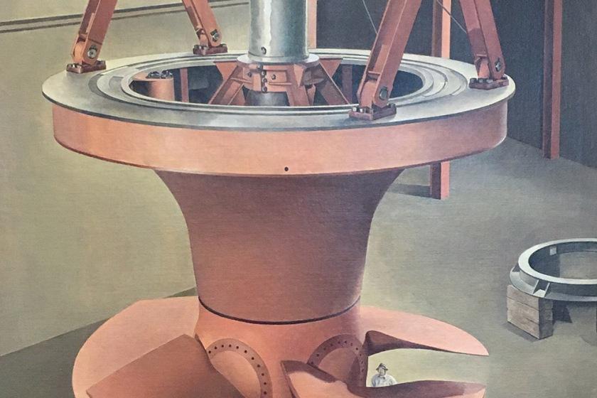 Charles Sheeler, Americano, 1883-1965. Suspender power, 1939.