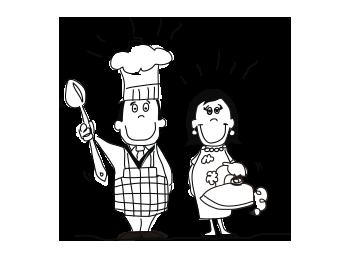 Por ejemplo: el padre: cocina, la madre: plancha.