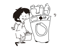 Poner la lavadora con supervisión: Un niño de 12 años está preparado para poner una lavadora.
