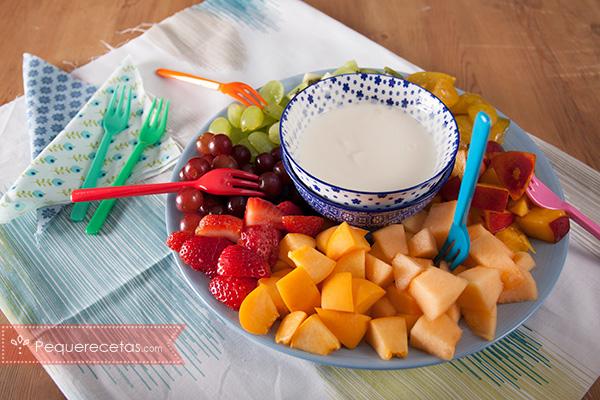Fondue fria de frutas y yogur