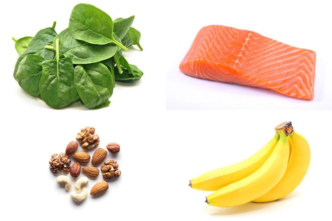 Espinacas, salmón. frutos secos, plátanos, todos ellos alimentos que ayudan, integrados en la dieta, a combatir el estrés. Foto: elmundo.es